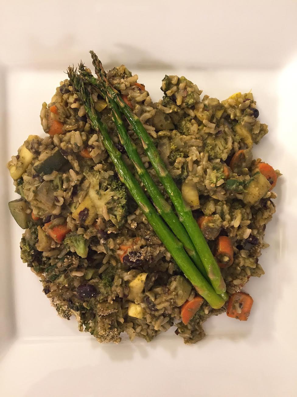 Pumpkin Seed Pesto Rice Casserole Insta