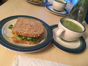 Cream of Broccoli:Chickpea Salad Sandwich