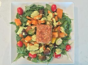 Roasted Veggie Salad w Avocado Dressing & Gingery Maple Glazed Tempeh Insta