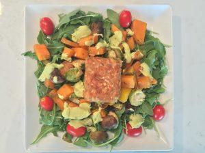 Roasted Veggie Salad w Avocado Dressing & Gingery Maple Glazed Tempeh Insta