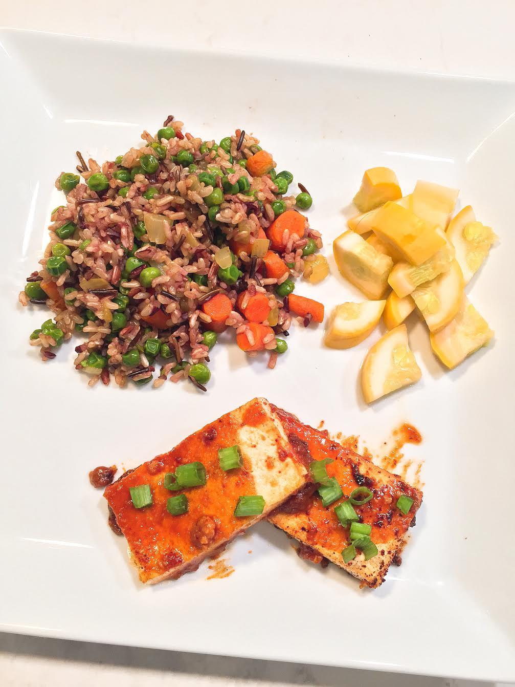 Spicy PB Tofu w Vegan Fried Rice Insta