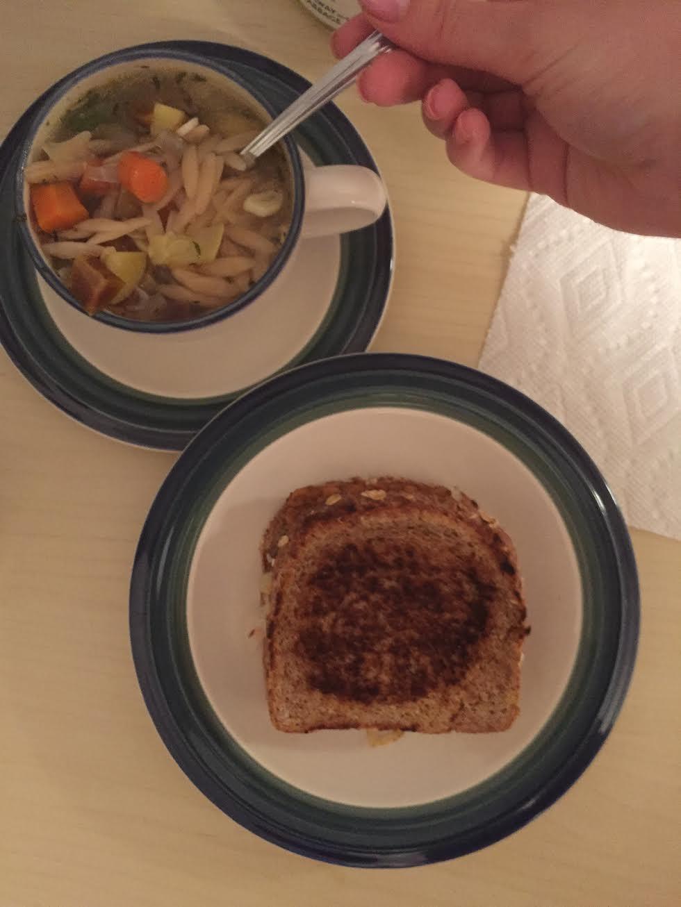 Tempeh Reuben Sandwich w Lemon Orzo Soup