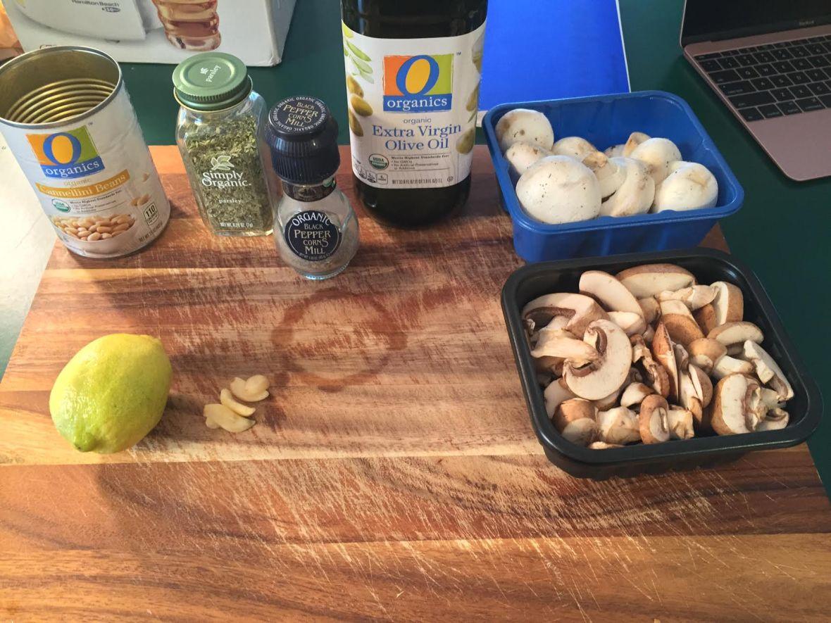 mushroom-lentil-lemon-salad-ingredients