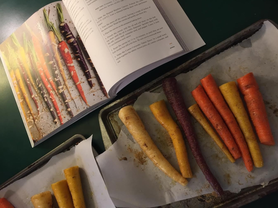 Roasted Rainbow Carrots w Cumin-Coriander Tahini Sauce
