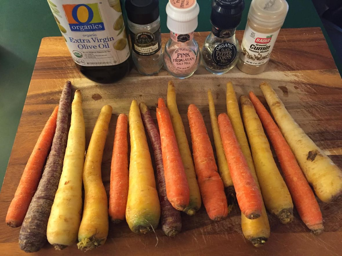 Roasted Rainbow Carrots w Cumin-Coriander Tahini Sauce Ingredients