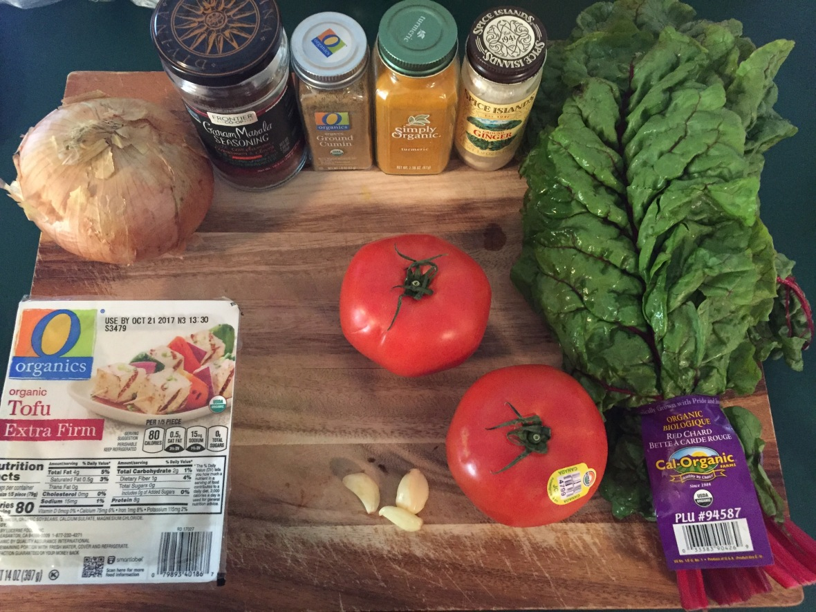 Indian-Spiced Chard w Tofu Ingredients
