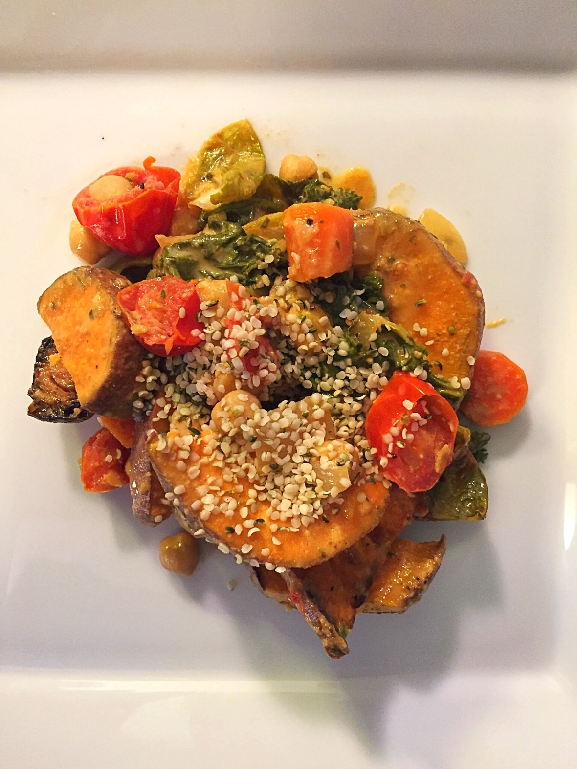 Sweet Potato, Crispy Chickpeas, & Kale Bowl Insta