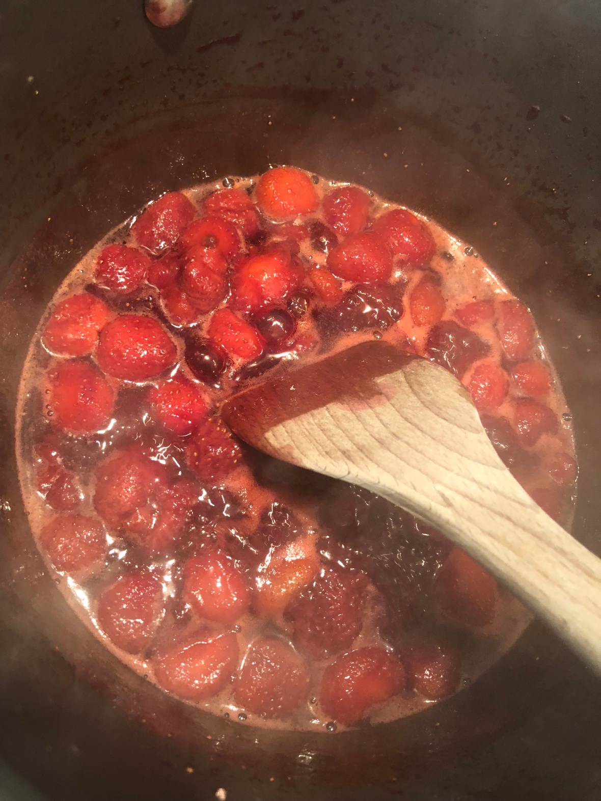 Berry Chia Seed Jam On Stove